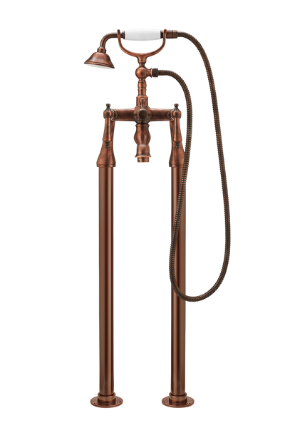 Bath Shower Mixer On Pipe Stands - Cross Handle