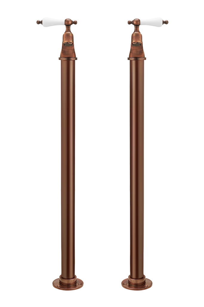 Bath Pillar Taps On Pipe Stands - Porcelain
