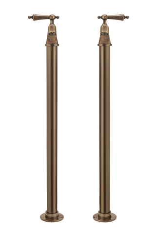 Bath Pillar Taps On Pipe Stands - Metal Lever