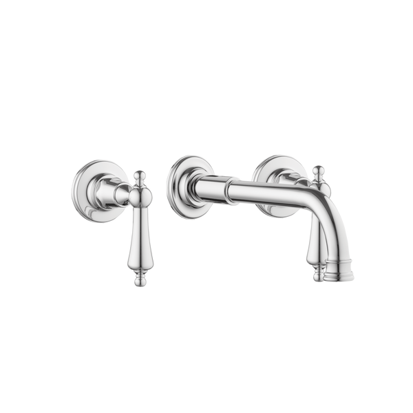 Bath Three Hole Set - 250 mm Spout - Porcelain Levers