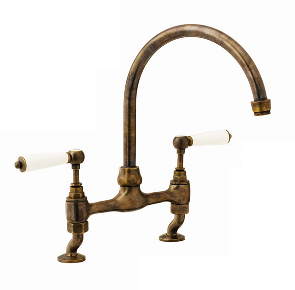 Millau - Bridge Sink Mixer - Porcelain Lever