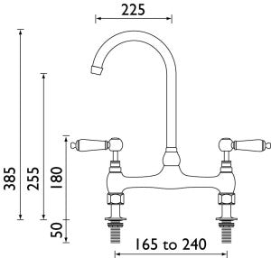 Millau - Bridge Sink Mixer - Metal Lever