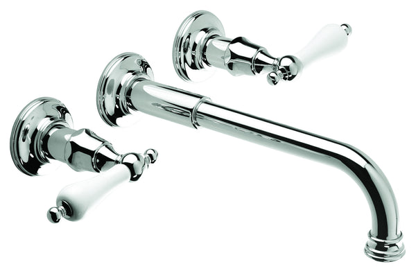 Wall Basin Three Hole Lever Taps with Basin Spout - Cross Handle