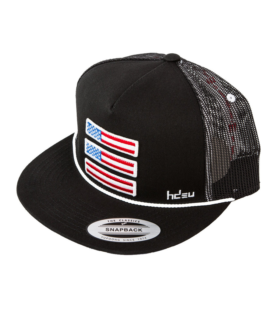 1776 Black Flat Bill Hat