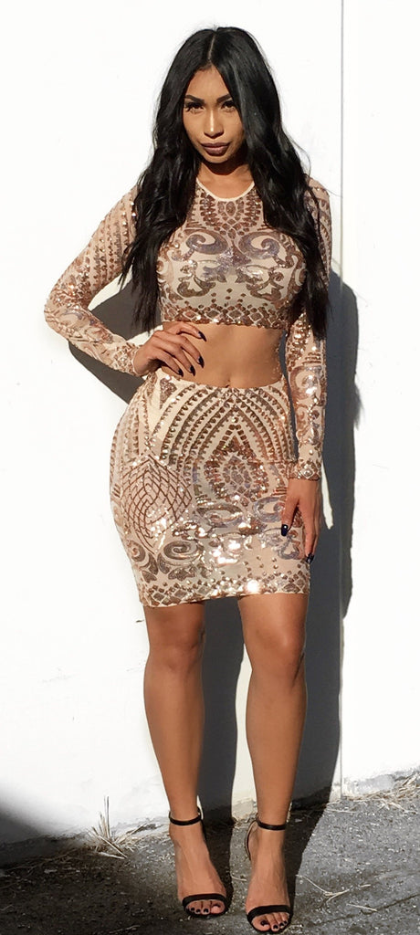Kendall Sequin Set - Rose Gold