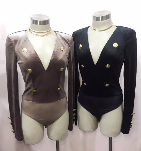 Yonce - Coco Velvet Bodysuit with Gold Buttons (Large Left)