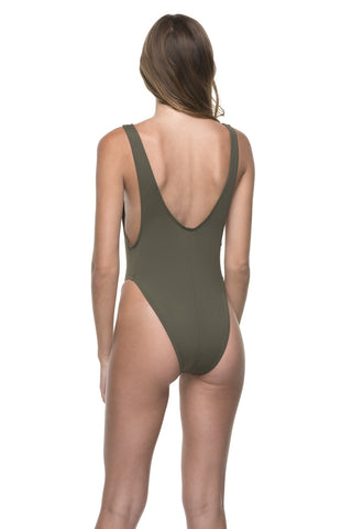 Vanessa Lace Up Swimsuit - Olive
