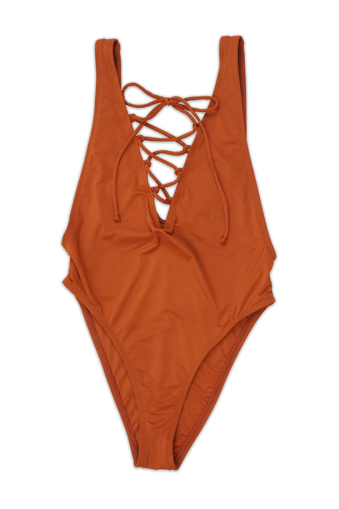 Vanessa Lace Up Swimsuit - Rust