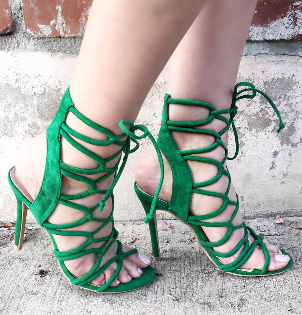 Keywest- Green suede lace up pumps