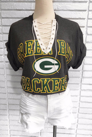 Green Bay Packers Custom lace up tee shirt (Green)
