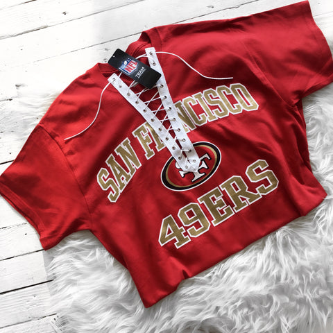 San Francisco 49ers Custom lace up tee shirt - Black