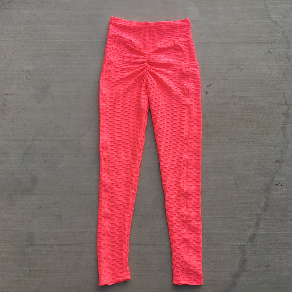 Becky Leggings with Pockets - Neon Coral