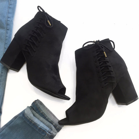 Rachel- Black suede booties