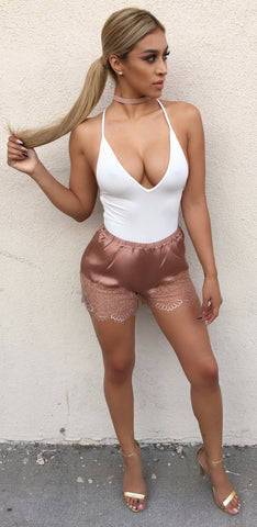 Blair - Bronze Satin Shorts (medium left)