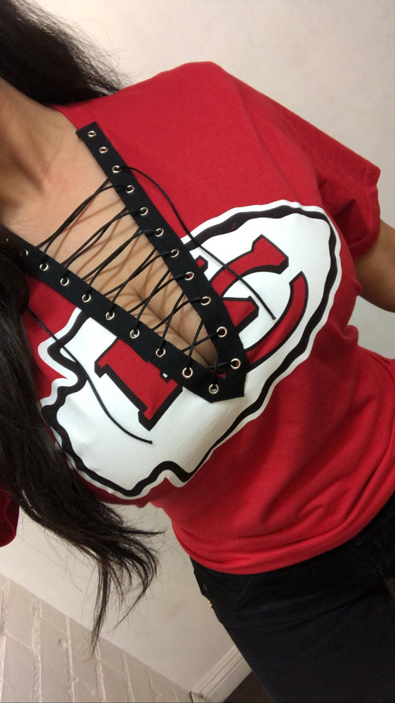 Kansas City Chiefs Custom lace up tee shirt