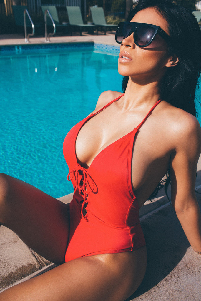 Paola- Red Lace up Swimsuit
