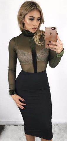 Natalie Bodysuit - Olive (Small Left)