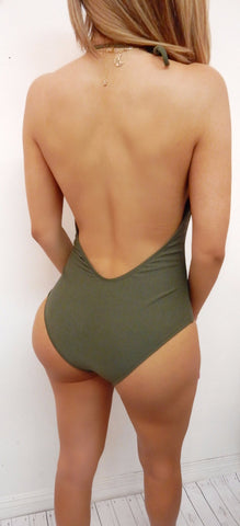 Paola- Olive Lace up Swimsuit