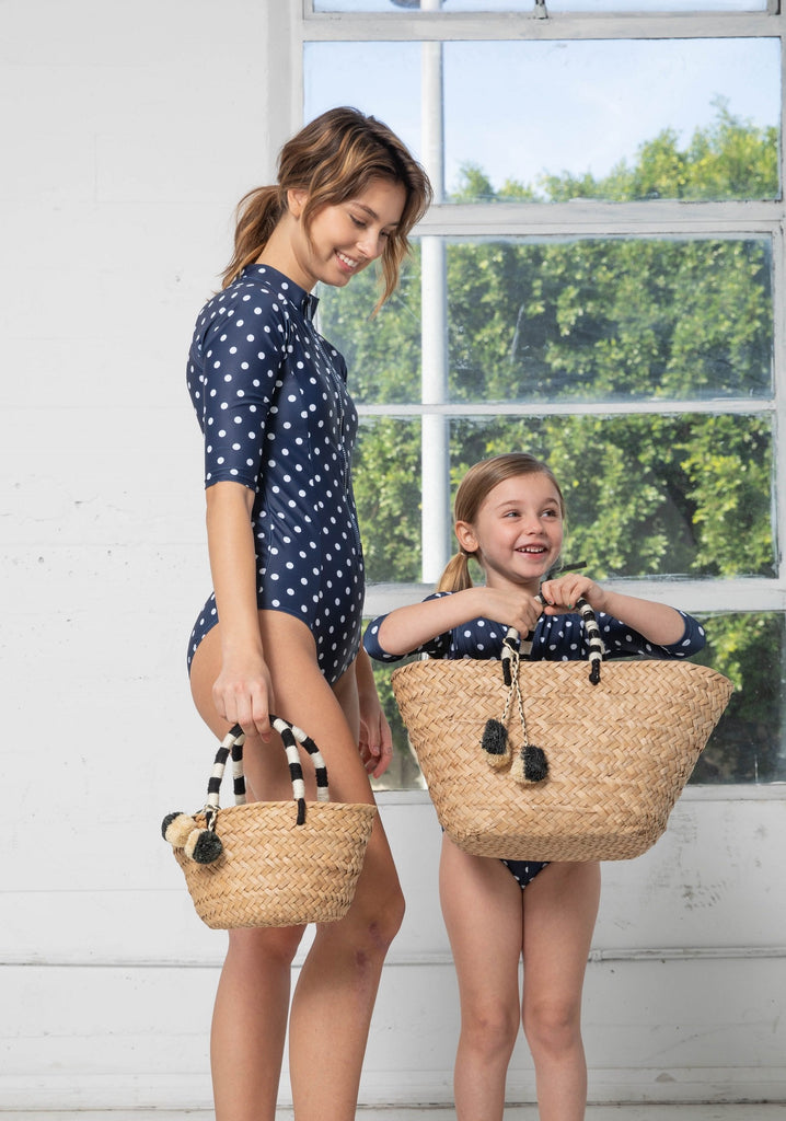 Navy Polka Dot Swimsuit - Kids