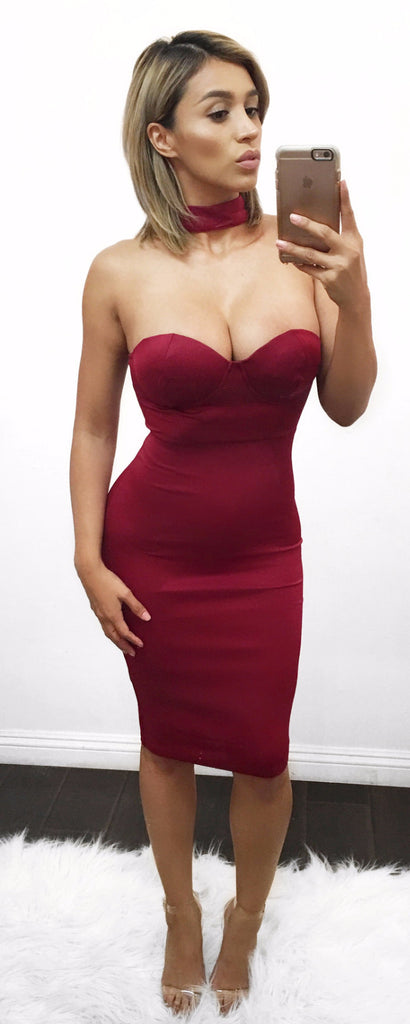 Monroe- Burgundy choker dress (Large Left)