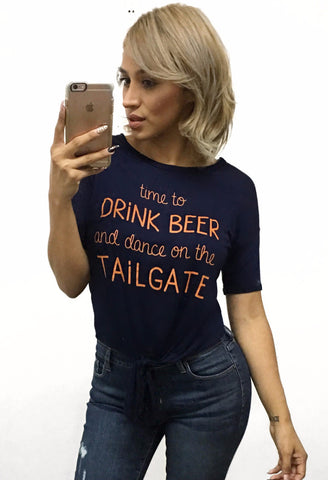 Time to Drink Beer and Dance on the Tailgate Top - Navy