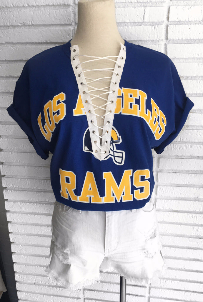 Los Angeles Rams Custom lace up tee shirt