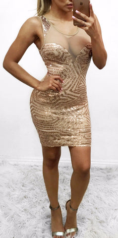 Evelyn - Gold Sequin dress (Small Only)