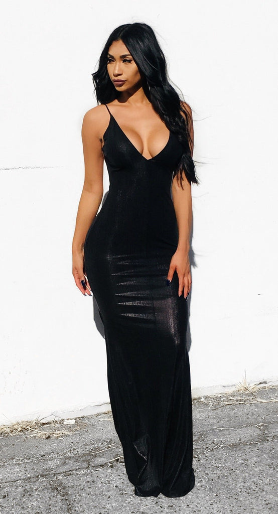 Ava Metallic Dress - Black