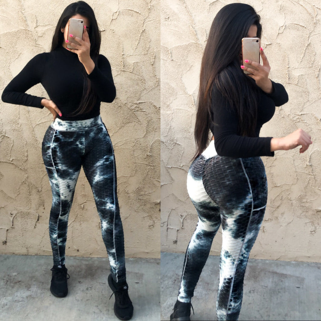 Becky Leggings with Pockets - Black Tie Dye