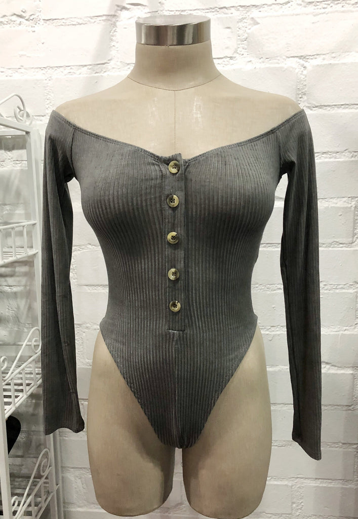Sam Ribbed Bodysuit - Charcoal