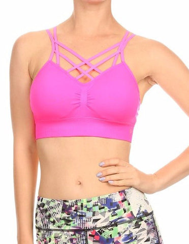 Criss Cross Sports Bra - Hot Pink