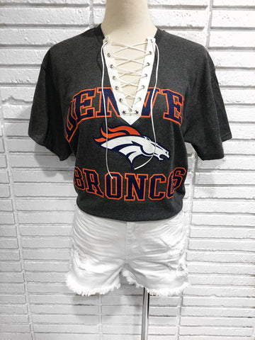 Denver Broncos Custom lace up tee shirt