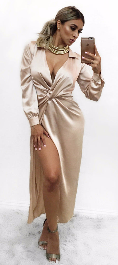 Elena - Champagne Satin dress
