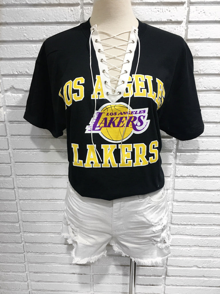 Los Angeles Lakers Custom lace up tee shirt