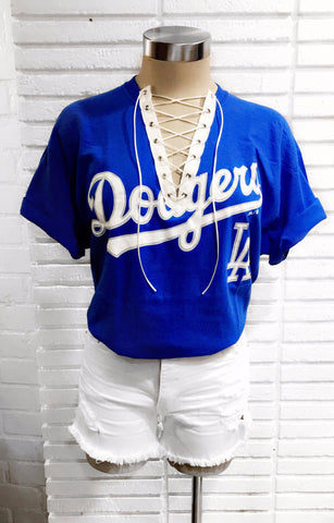 Dodgers White Laced Up Shirt