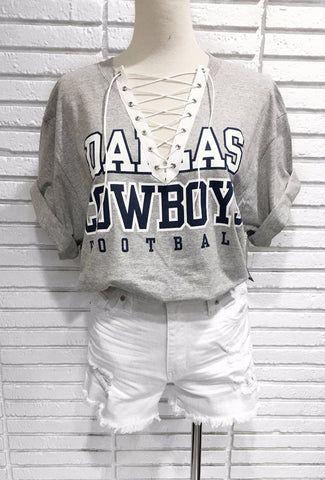 Dallas Cowboys Custom lace up tee shirt