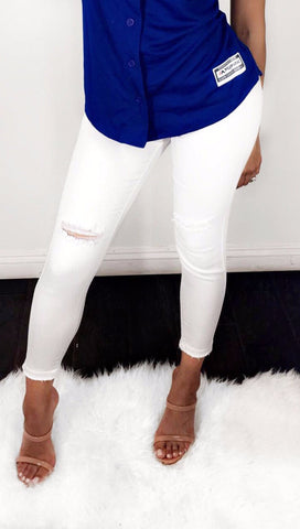 White Distressed crop jeans