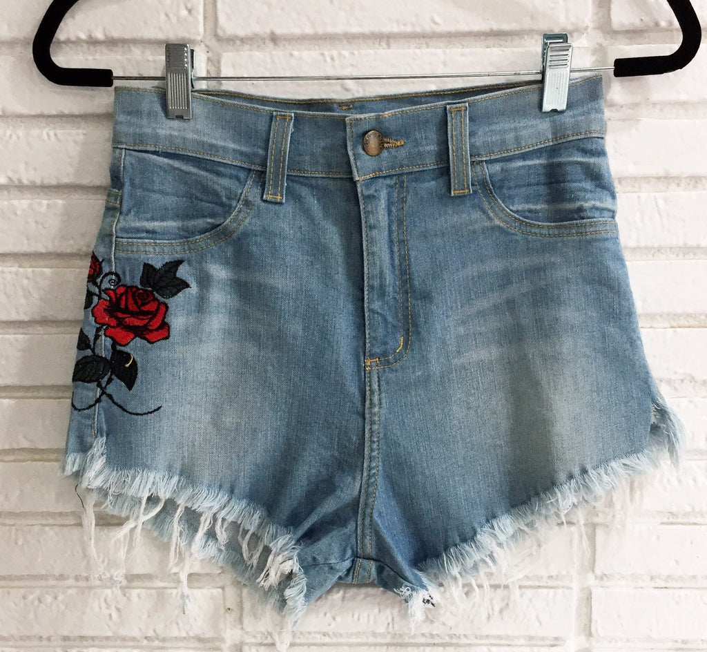 Rose Embroidered Shorts