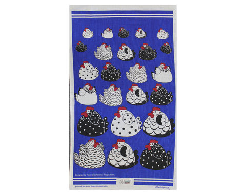 Tea Towel - Happy Blue Hens