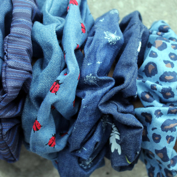 Denim Scrunchies - Assorted - 3 for $10.