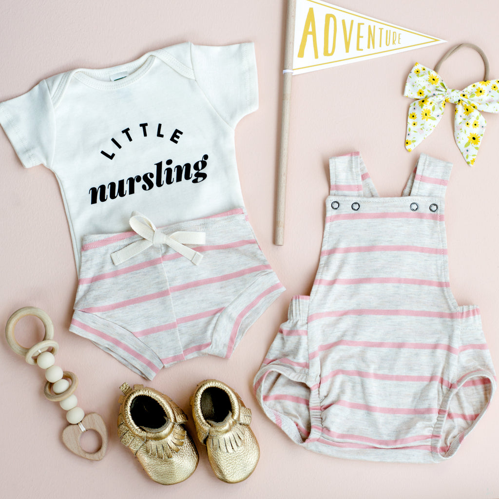 The Perfect Baby Outfit: Sunflowers & Blush Stripe, Oh My!