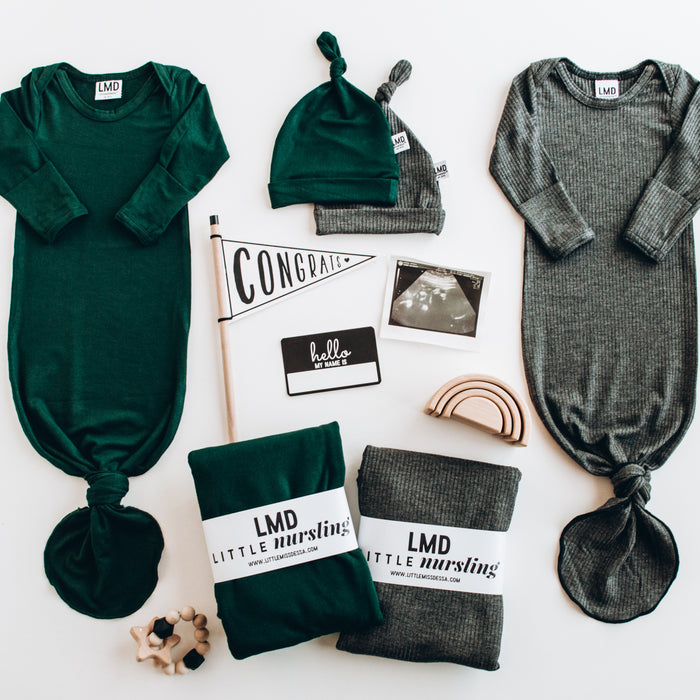Modern Baby Essentials | Hunter Green & Charcoal Grey Collection