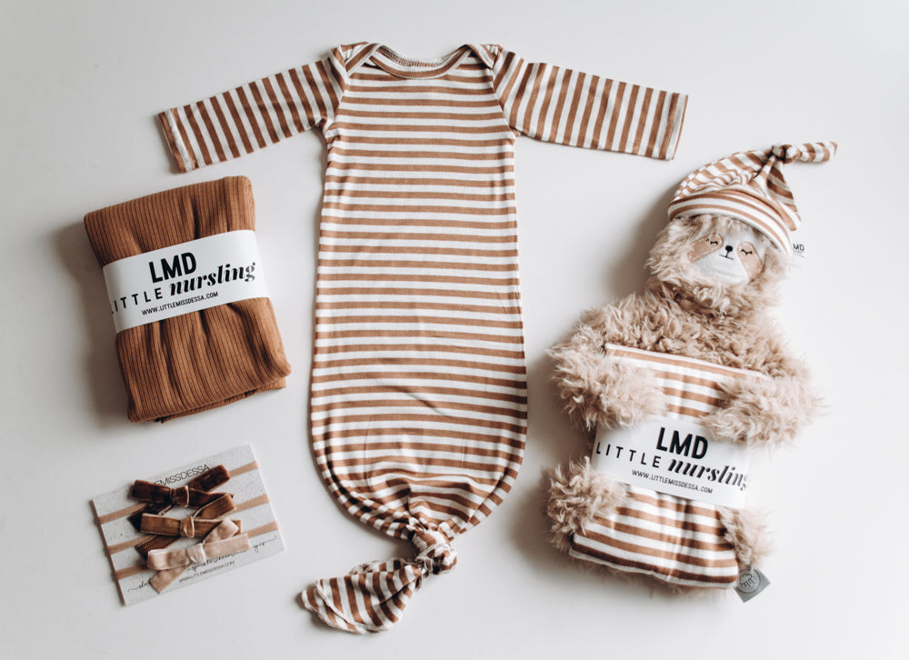 Knotted baby gown in Camel Stripe