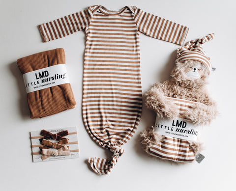 Camel Stripe Knotted Baby Gown