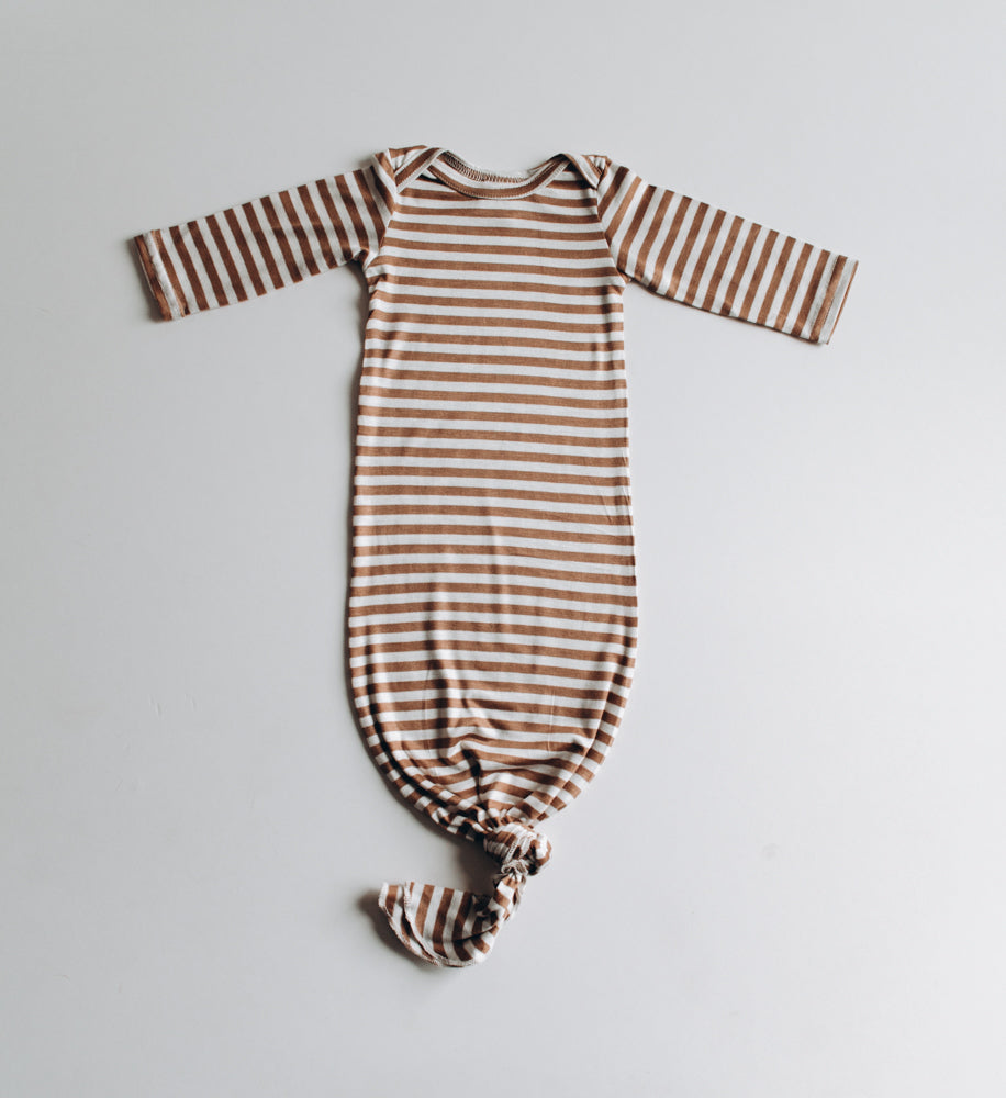 knotted baby gowns & sleeper in gender neutral camel stripe