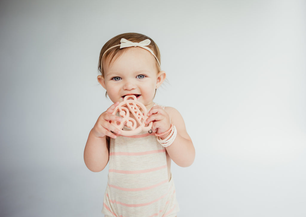 littlemissdessa newborn and baby romper, newborn headband and modern little chews teether, june and penny bracelets