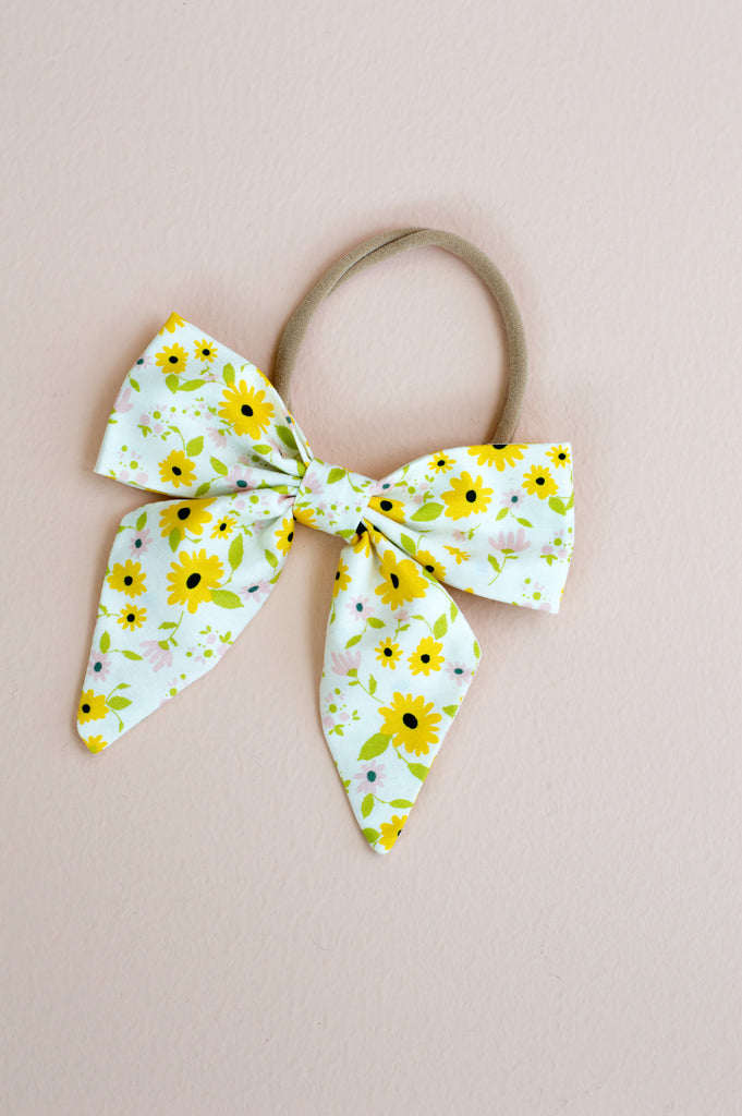 littlemissdessa sunflower hair bow for newborns, babies, toddlers, and little girls