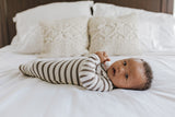 Little Nursling® Snuggle Knotted Baby Gown | Mocha & Ivory Stripe Jersey