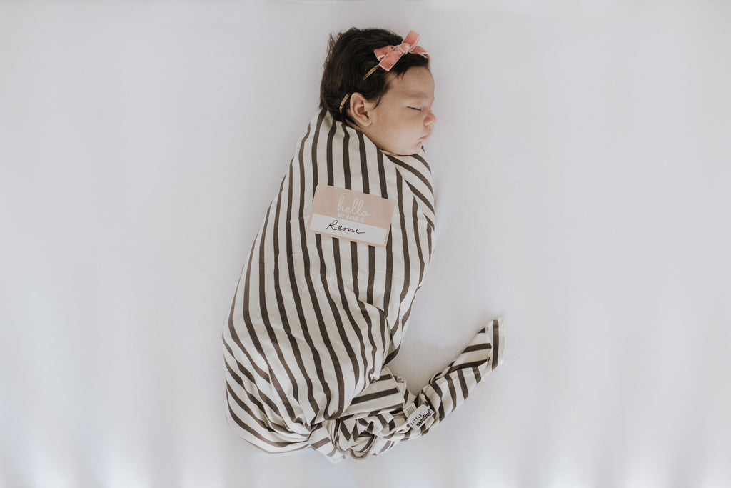 Little Nursling™ Knit Jersey Swaddle Baby Blanket | Mocha & Ivory Stripe