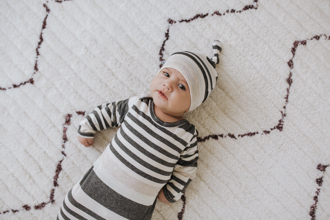Newborn Baby Knotted Hat | Charcoal Grey, Ivory & Oatmeal Stripe - LITTLEMISSDESSA